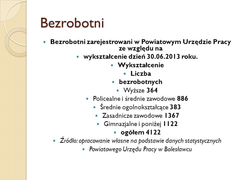 Bezrobotni Bezrobotni zarejestrowani w Powiatowym Urzędzie Pracy ze względu na. wykształcenie dzień 30.06.2013 roku.