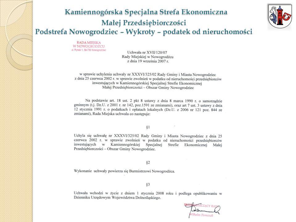 Kamiennogórska Specjalna Strefa Ekonomiczna Małej Przedsiębiorczości Podstrefa Nowogrodziec – Wykroty – podatek od nieruchomości
