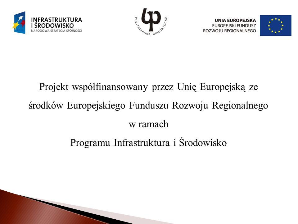 Projekt współfinansowany przez Unię Europejską ze środków Europejskiego Funduszu Rozwoju Regionalnego w ramach Programu Infrastruktura i Środowisko