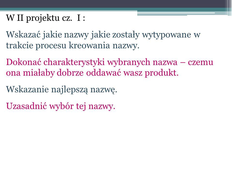 W II projektu cz. I : Wskazać jakie nazwy jakie zostały wytypowane w trakcie procesu kreowania nazwy.