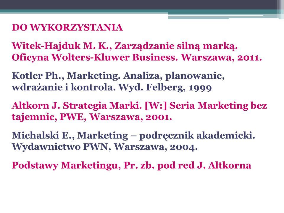 DO WYKORZYSTANIA Witek-Hajduk M. K., Zarządzanie silną marką. Oficyna Wolters-Kluwer Business. Warszawa, 2011.