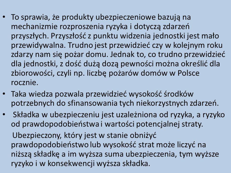 To sprawia, że produkty ubezpieczeniowe bazują na mechanizmie rozproszenia ryzyka i dotyczą zdarzeń przyszłych. Przyszłość z punktu widzenia jednostki jest mało przewidywalna. Trudno jest przewidzieć czy w kolejnym roku zdarzy nam się pożar domu. Jednak to, co trudno przewidzieć dla jednostki, z dość dużą dozą pewności można określić dla zbiorowości, czyli np. liczbę pożarów domów w Polsce rocznie.