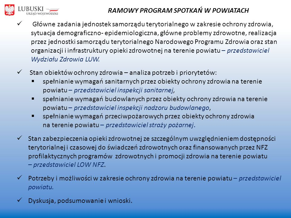 RAMOWY PROGRAM SPOTKAŃ W POWIATACH