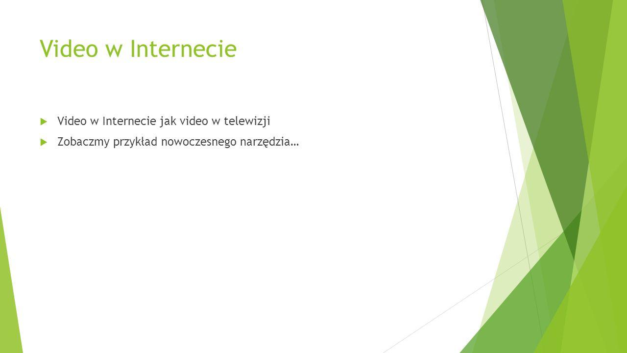 Video w Internecie Video w Internecie jak video w telewizji