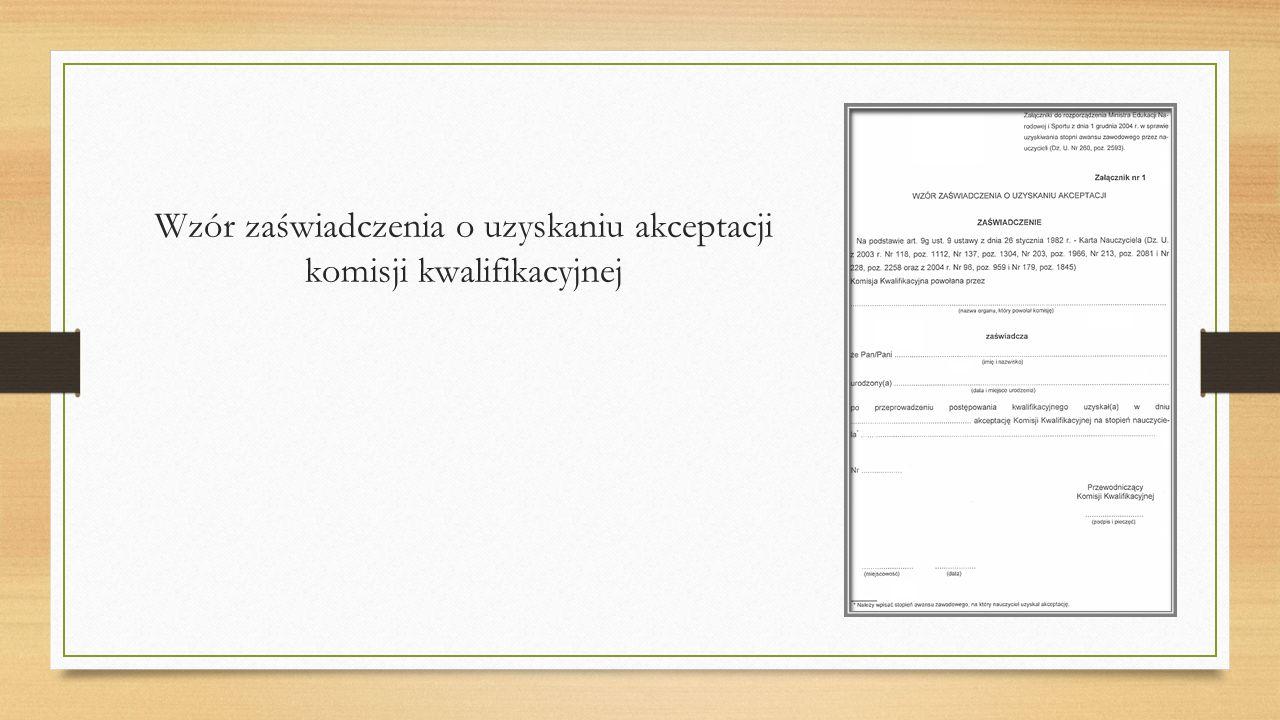 Wzór zaświadczenia o uzyskaniu akceptacji komisji kwalifikacyjnej