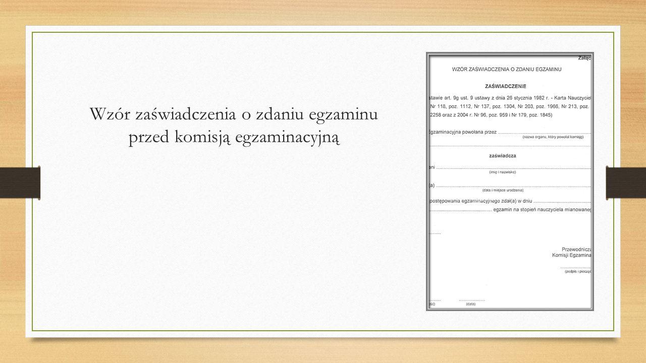 Wzór zaświadczenia o zdaniu egzaminu przed komisją egzaminacyjną
