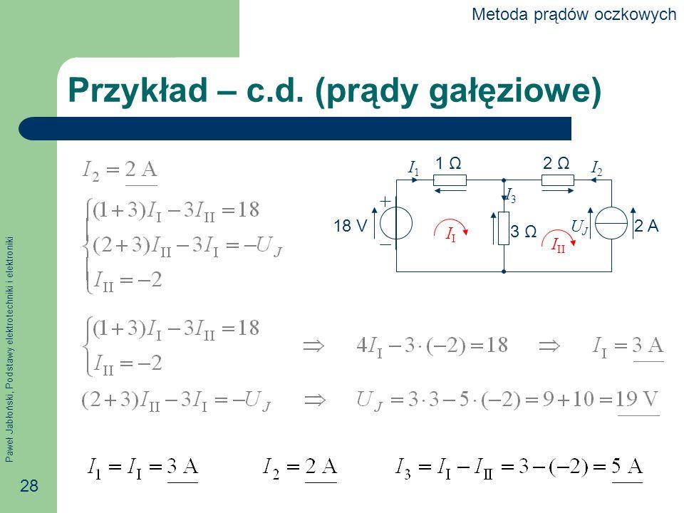Przykład – c.d. (prądy gałęziowe)