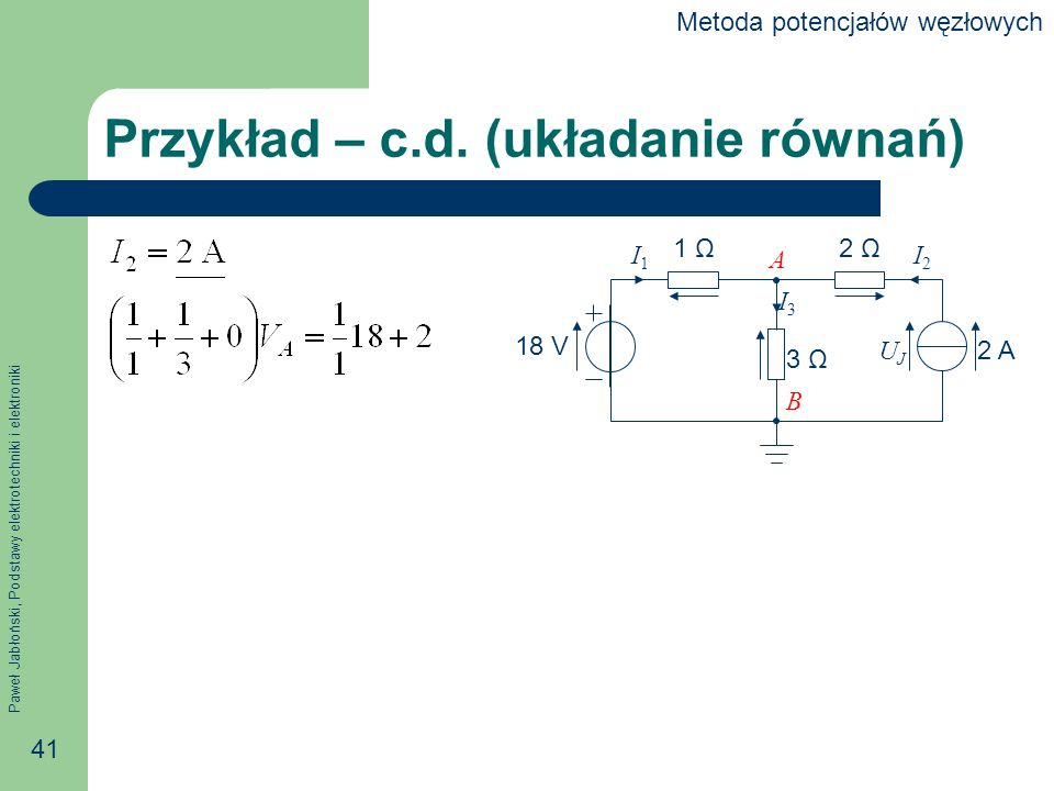 Przykład – c.d. (układanie równań)