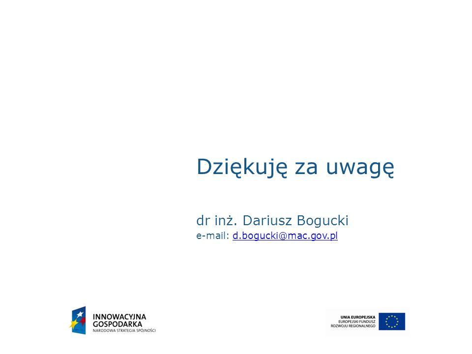 Dziękuję za uwagę dr inż. Dariusz Bogucki e-mail: d.bogucki@mac.gov.pl