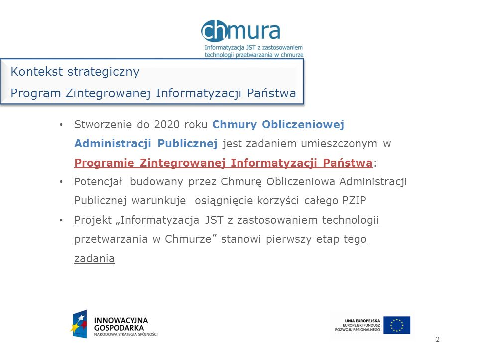 Kontekst strategiczny Program Zintegrowanej Informatyzacji Państwa
