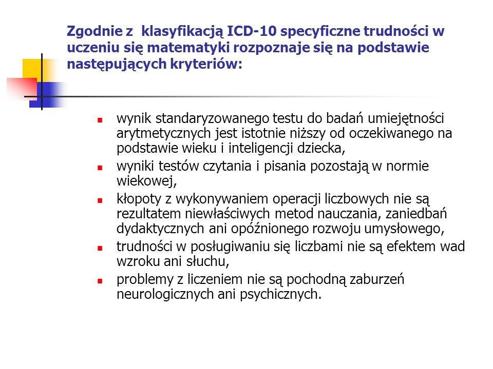 Zgodnie z klasyfikacją ICD-10 specyficzne trudności w uczeniu się matematyki rozpoznaje się na podstawie następujących kryteriów: