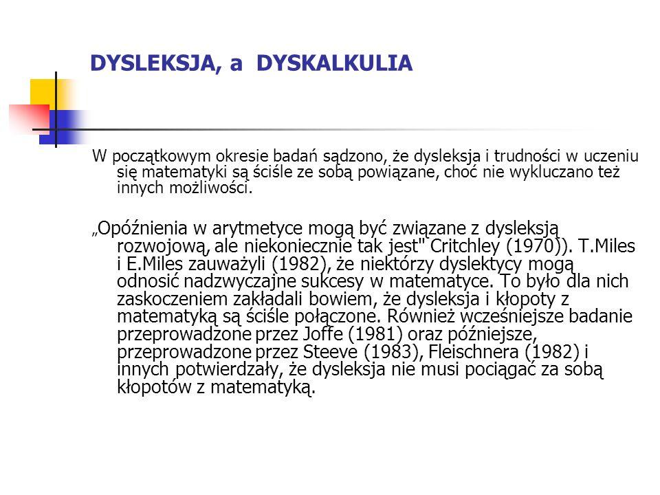 DYSLEKSJA, a DYSKALKULIA