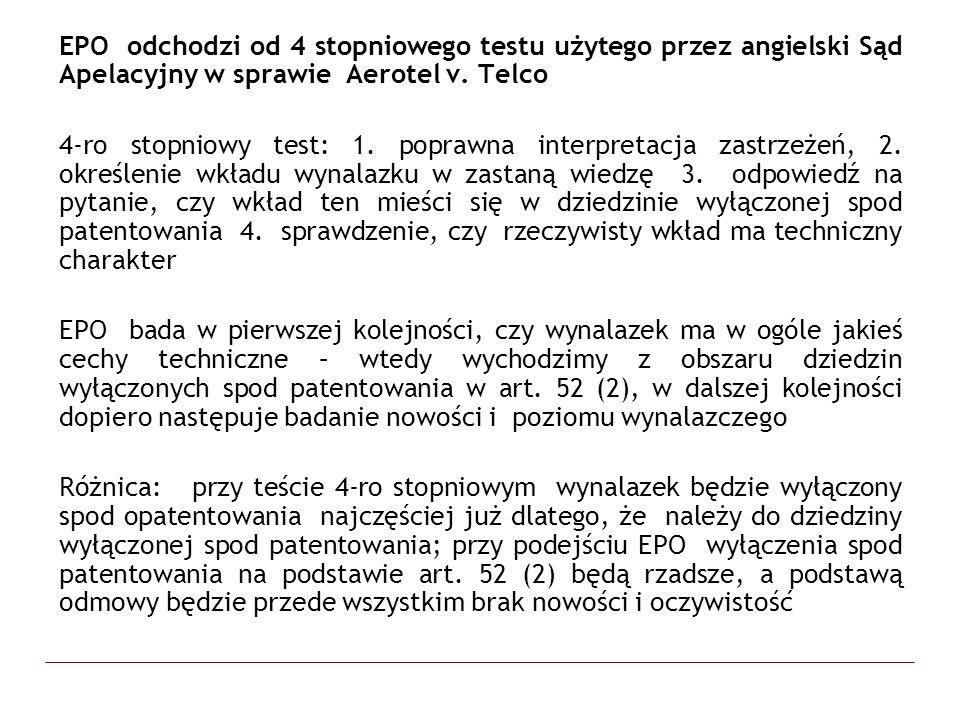 EPO odchodzi od 4 stopniowego testu użytego przez angielski Sąd Apelacyjny w sprawie Aerotel v. Telco