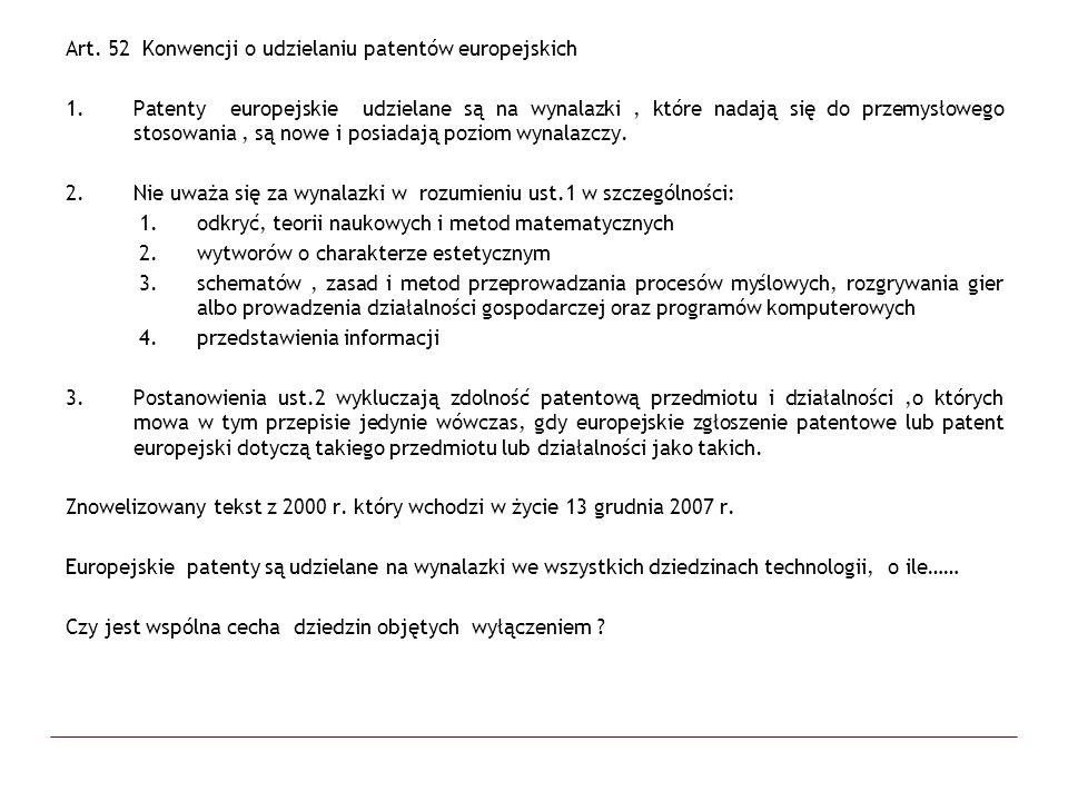 Art. 52 Konwencji o udzielaniu patentów europejskich