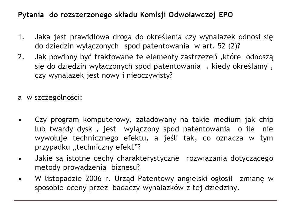 Pytania do rozszerzonego składu Komisji Odwoławczej EPO