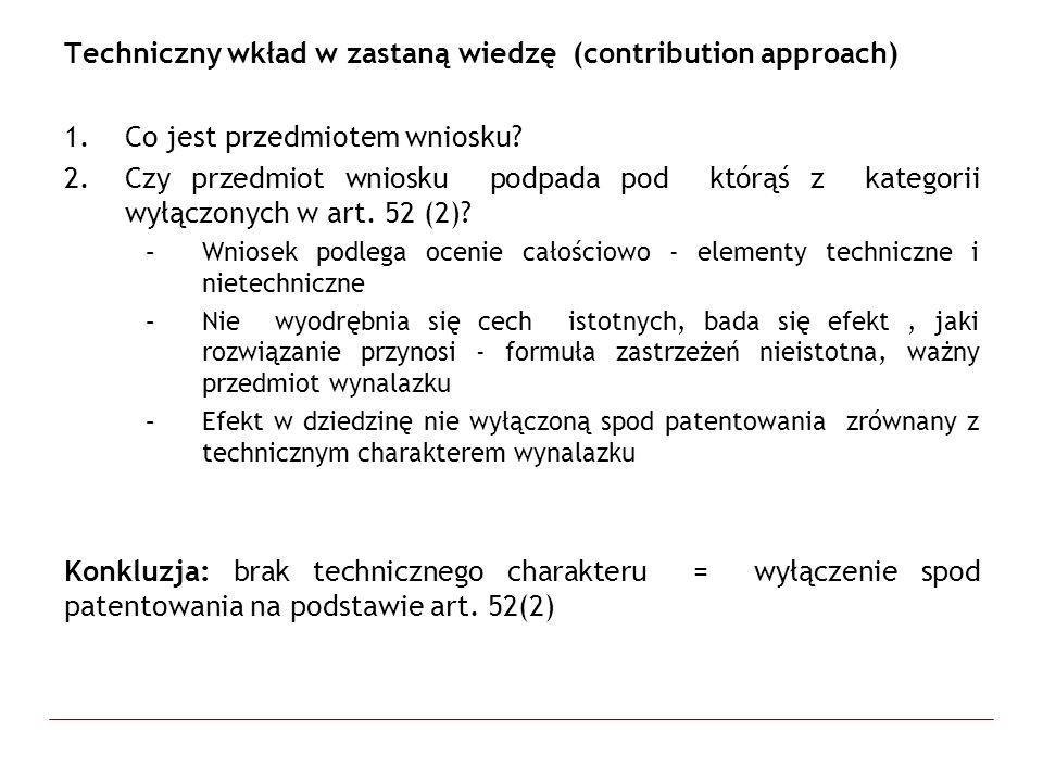 Techniczny wkład w zastaną wiedzę (contribution approach)