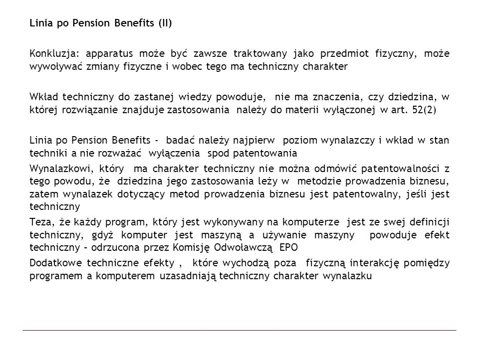 Linia po Pension Benefits (II)