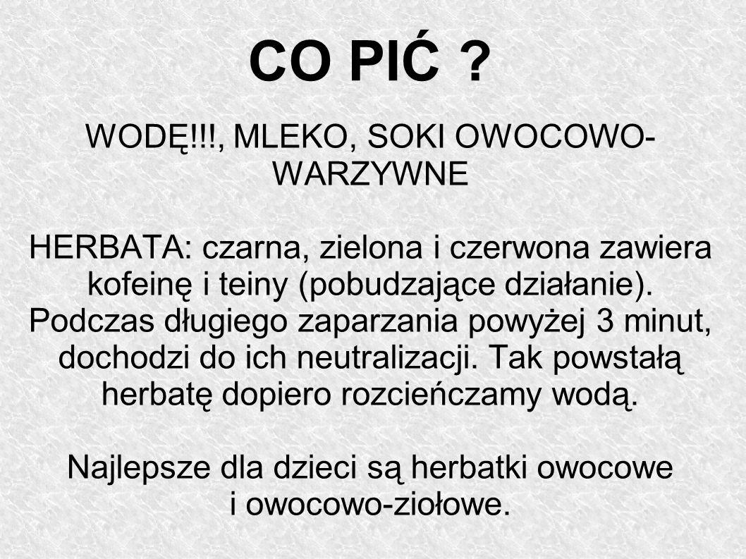 CO PIĆ WODĘ!!!, MLEKO, SOKI OWOCOWO- WARZYWNE