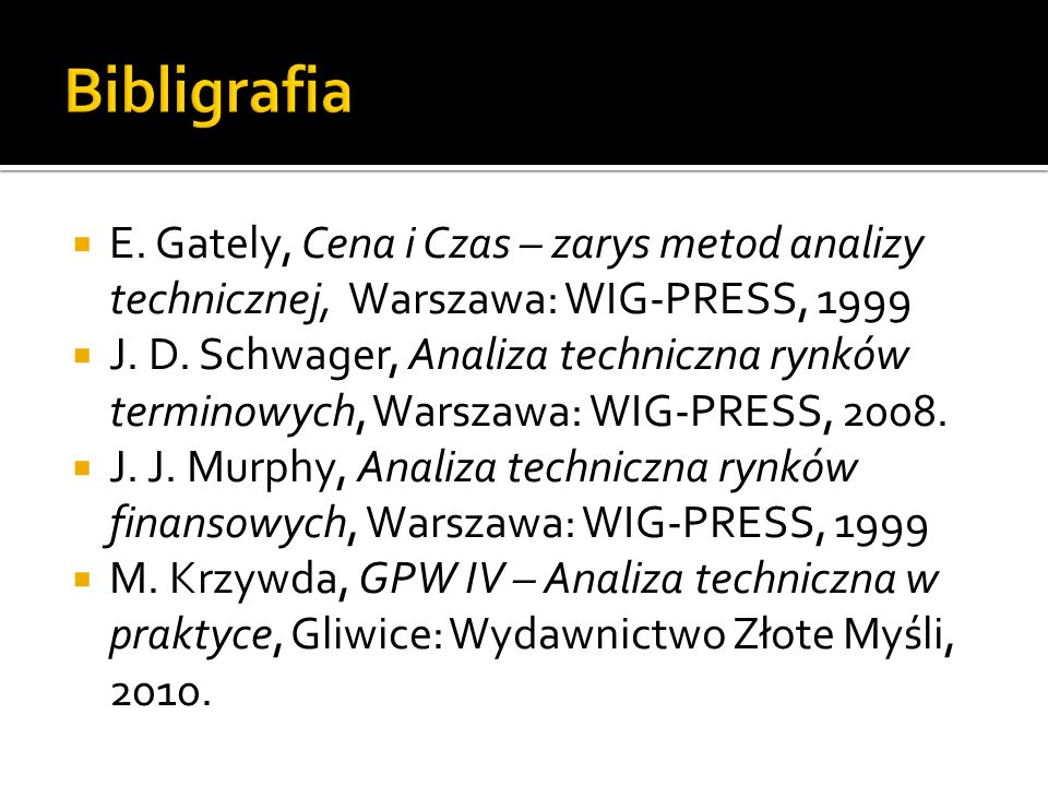 Bibligrafia E. Gately, Cena i Czas – zarys metod analizy technicznej, Warszawa: WIG-PRESS, 1999.
