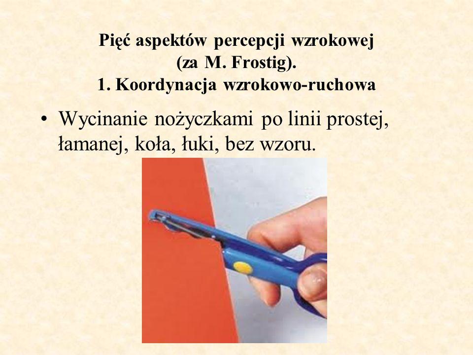 Wycinanie nożyczkami po linii prostej, łamanej, koła, łuki, bez wzoru.
