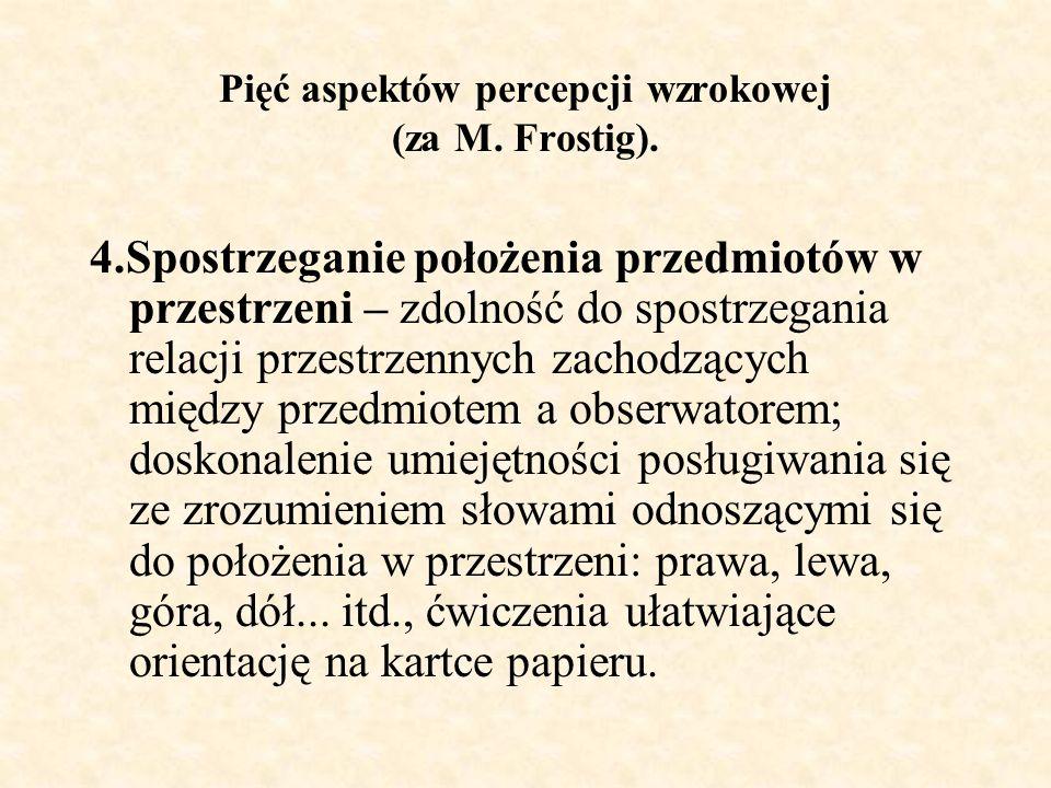 Pięć aspektów percepcji wzrokowej (za M. Frostig).