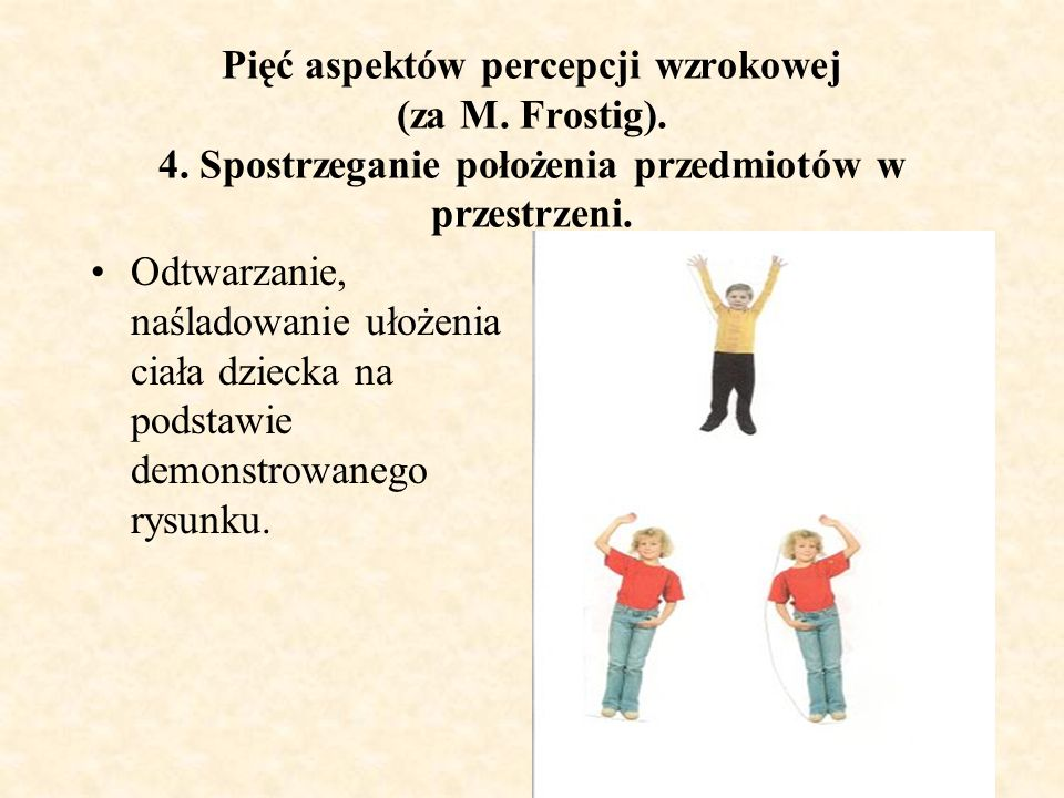 Pięć aspektów percepcji wzrokowej (za M. Frostig). 4