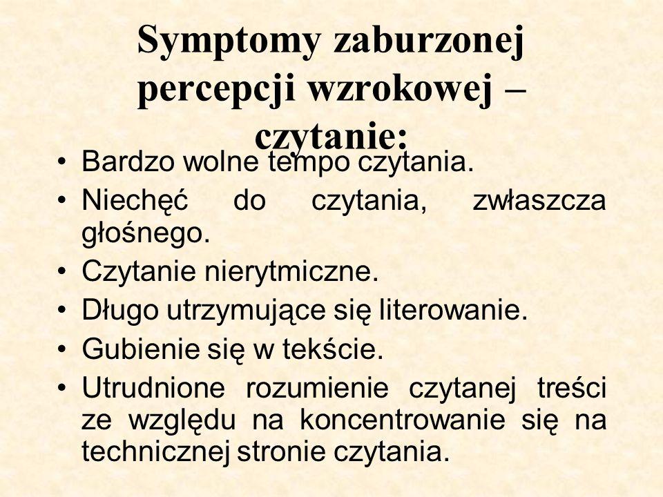 Symptomy zaburzonej percepcji wzrokowej – czytanie: