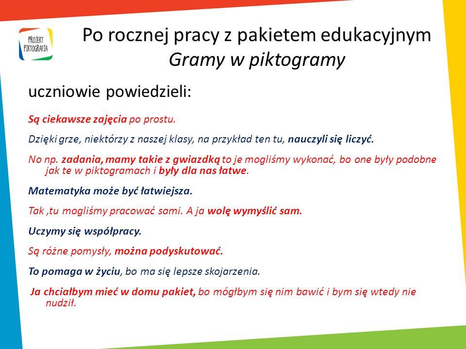 Po rocznej pracy z pakietem edukacyjnym Gramy w piktogramy