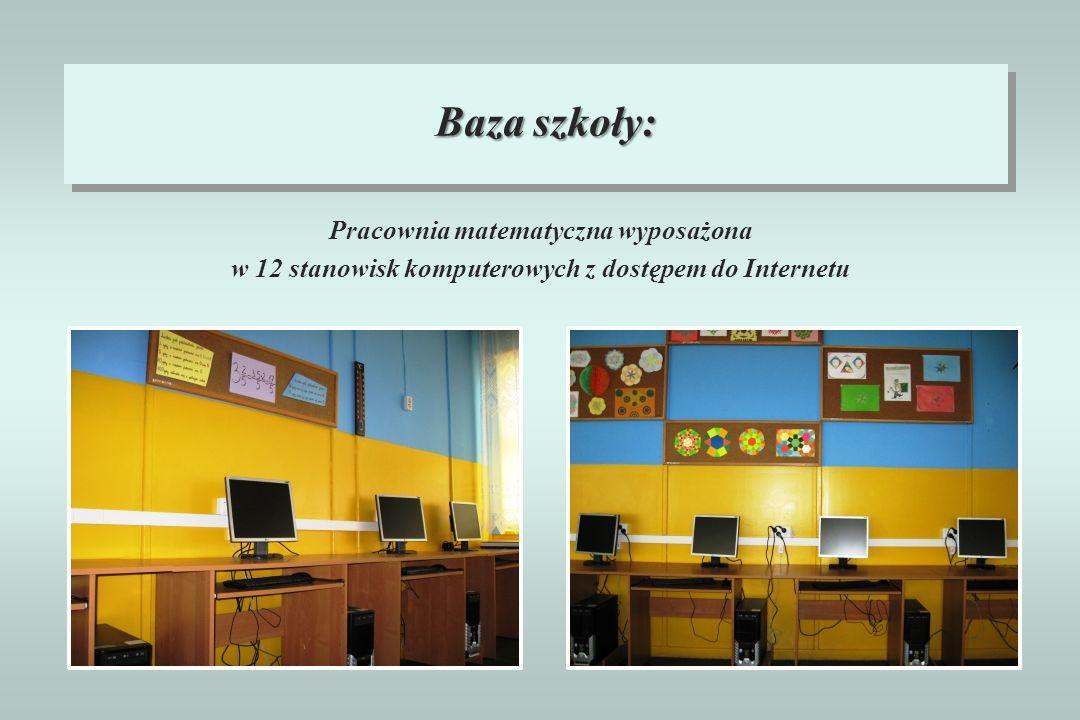 Baza szkoły: Pracownia matematyczna wyposażona w 12 stanowisk komputerowych z dostępem do Internetu