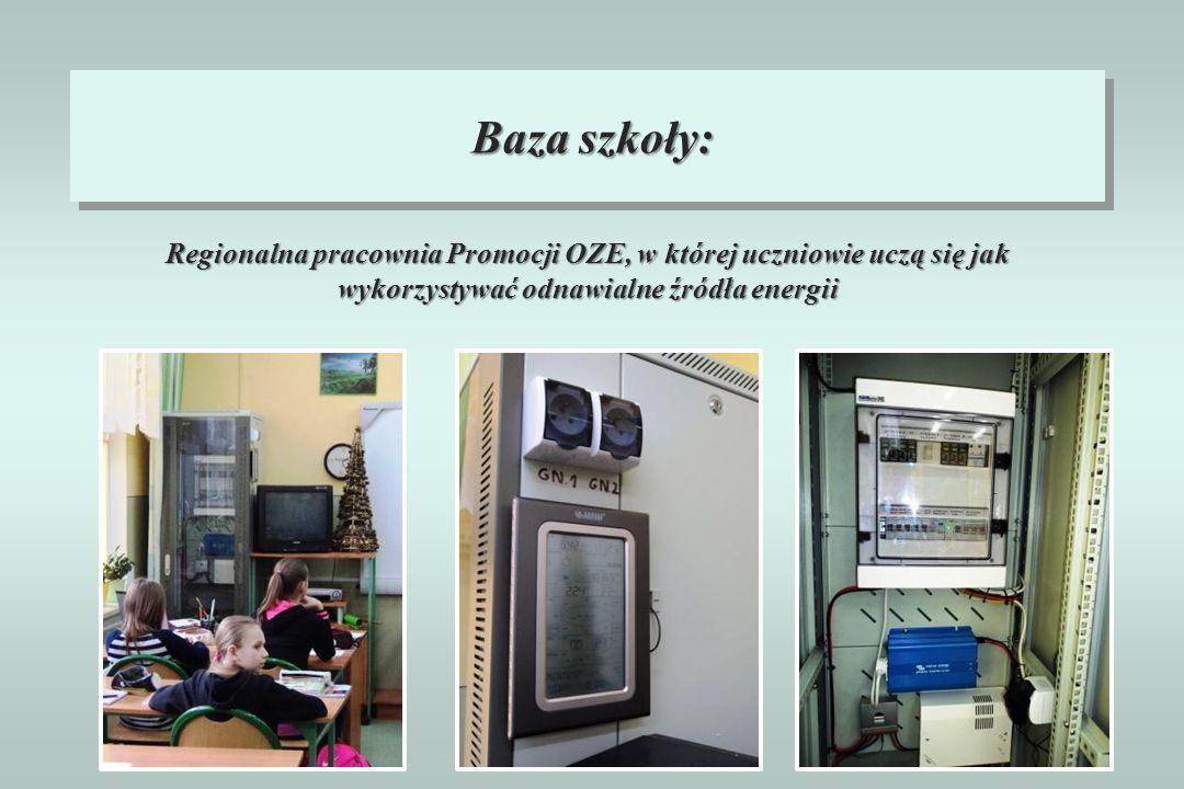Baza szkoły: Regionalna pracownia Promocji OZE, w której uczniowie uczą się jak wykorzystywać odnawialne źródła energii.