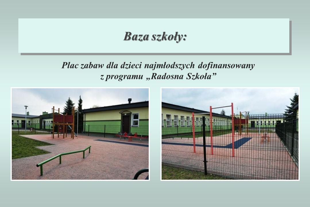"""Baza szkoły: Plac zabaw dla dzieci najmłodszych dofinansowany z programu """"Radosna Szkoła"""