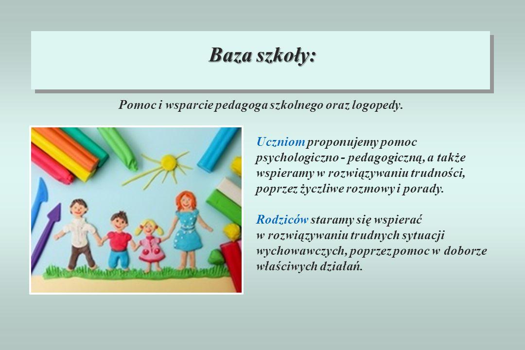 Pomoc i wsparcie pedagoga szkolnego oraz logopedy.