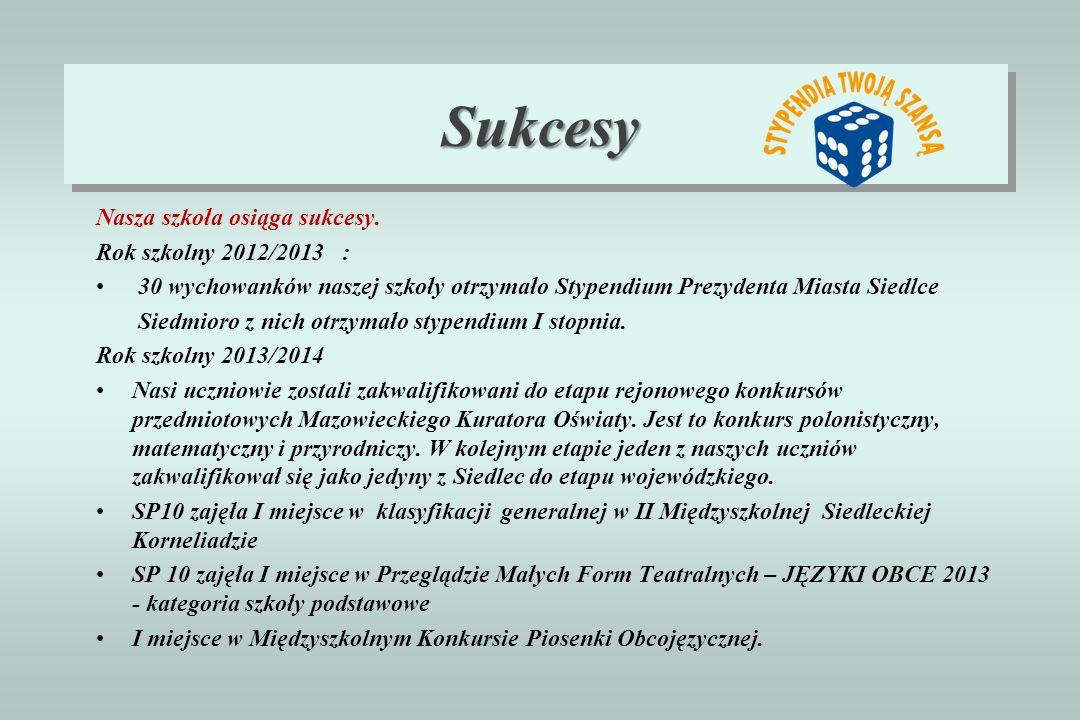 Sukcesy Nasza szkoła osiąga sukcesy. Rok szkolny 2012/2013 :