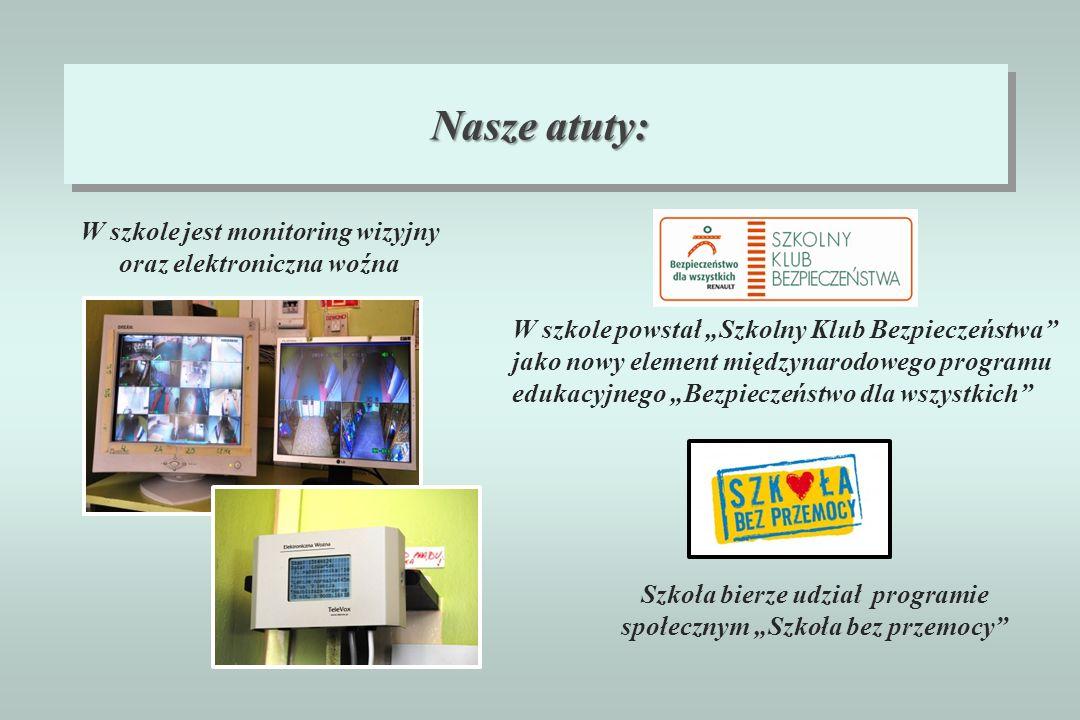 Nasze atuty: W szkole jest monitoring wizyjny oraz elektroniczna woźna