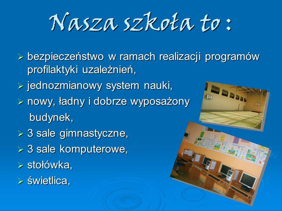 Nasza szkoła to : bezpieczeństwo w ramach realizacji programów profilaktyki uzależnień, jednozmianowy system nauki,