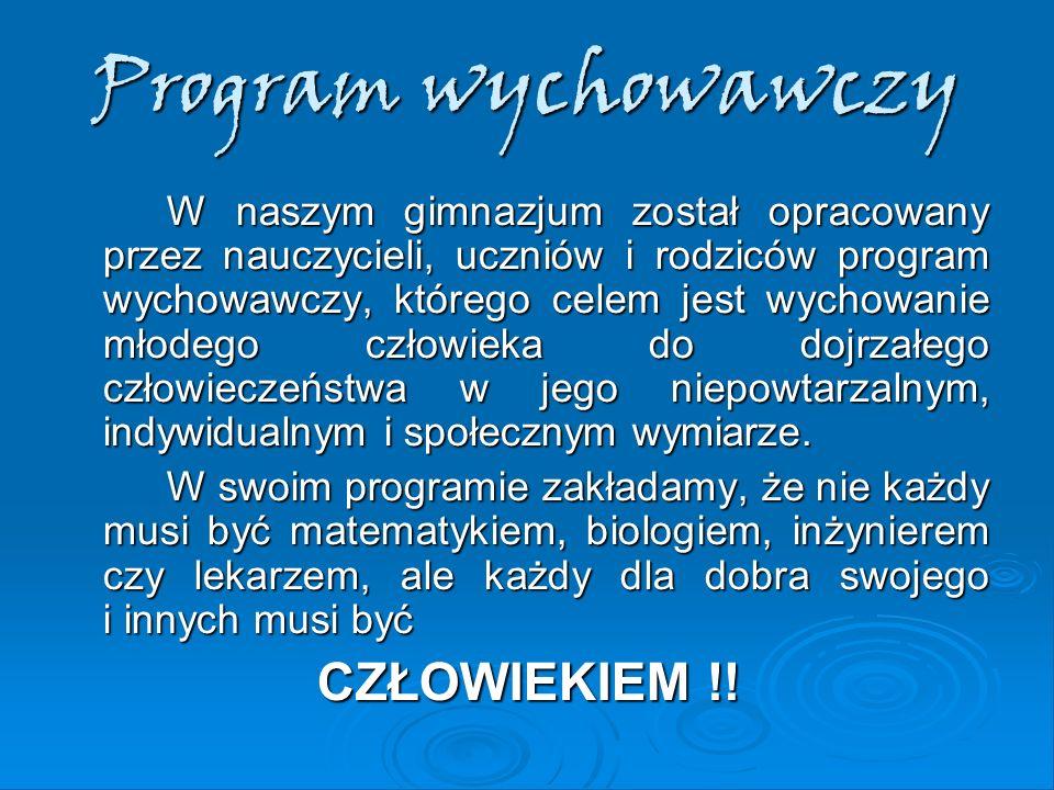 Program wychowawczy CZŁOWIEKIEM !!