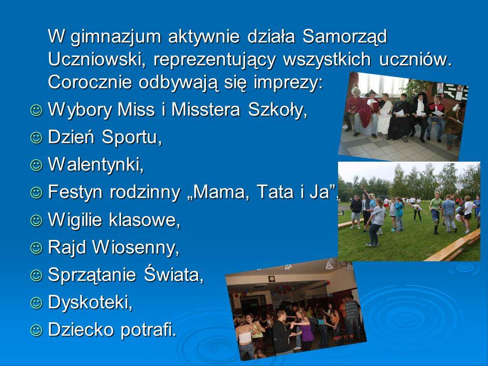 W gimnazjum aktywnie działa Samorząd Uczniowski, reprezentujący wszystkich uczniów. Corocznie odbywają się imprezy: