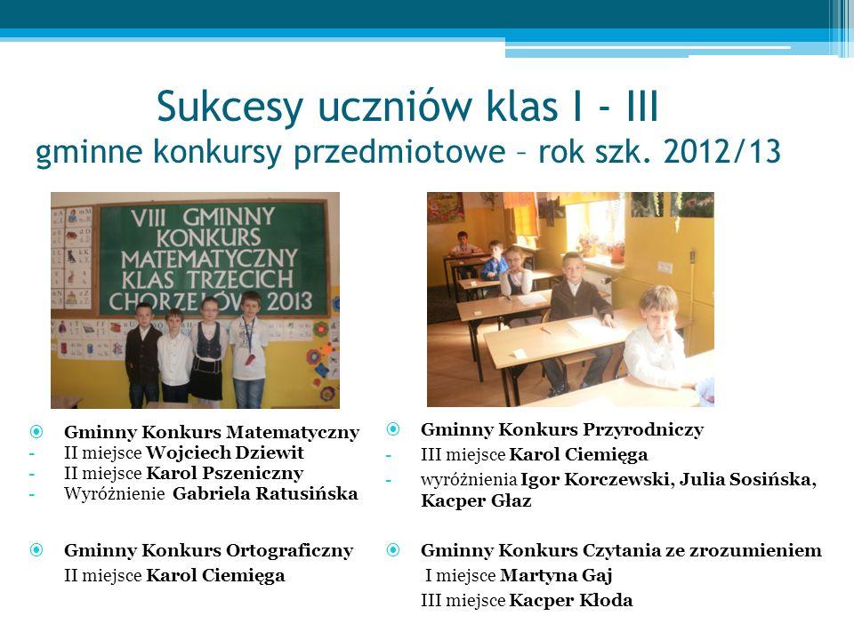 Sukcesy uczniów klas I - III gminne konkursy przedmiotowe – rok szk