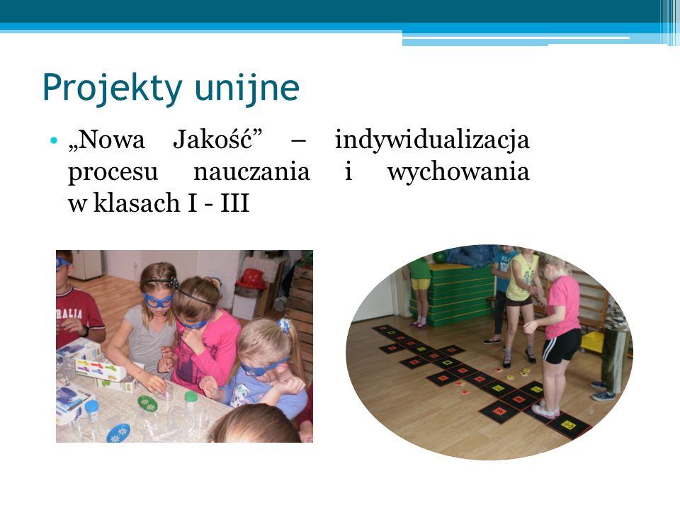 """Projekty unijne """"Nowa Jakość – indywidualizacja procesu nauczania i wychowania w klasach I - III."""