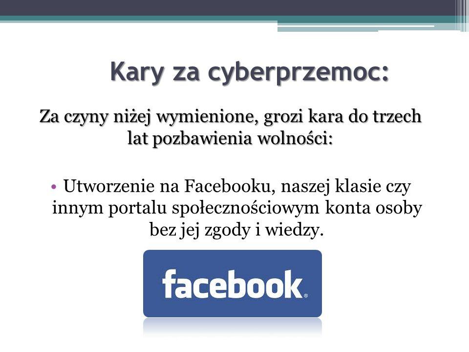 Kary za cyberprzemoc: Za czyny niżej wymienione, grozi kara do trzech lat pozbawienia wolności: