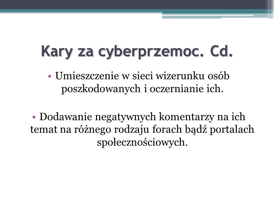 Kary za cyberprzemoc. Cd.