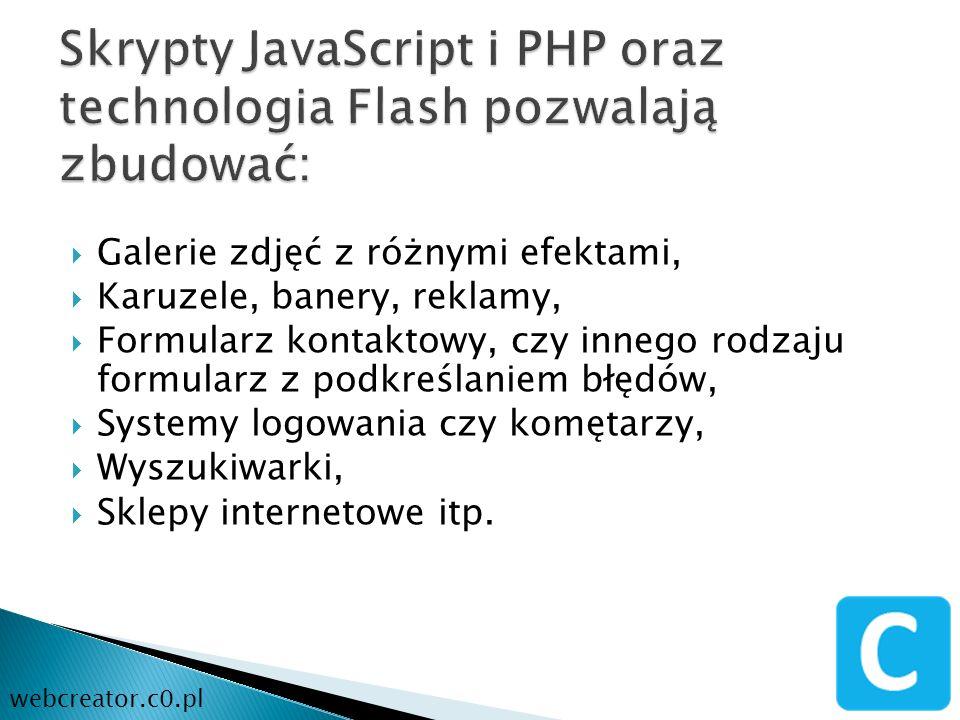 Skrypty JavaScript i PHP oraz technologia Flash pozwalają zbudować: