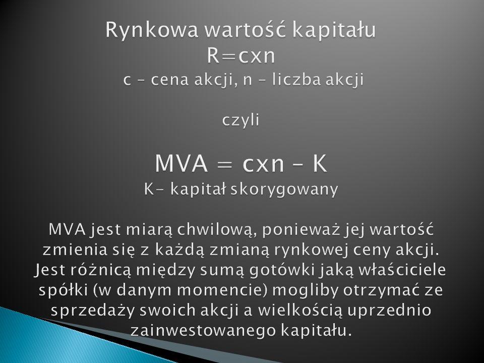 Rynkowa wartość kapitału R=cxn c – cena akcji, n – liczba akcji czyli MVA = cxn – K K- kapitał skorygowany MVA jest miarą chwilową, ponieważ jej wartość zmienia się z każdą zmianą rynkowej ceny akcji.