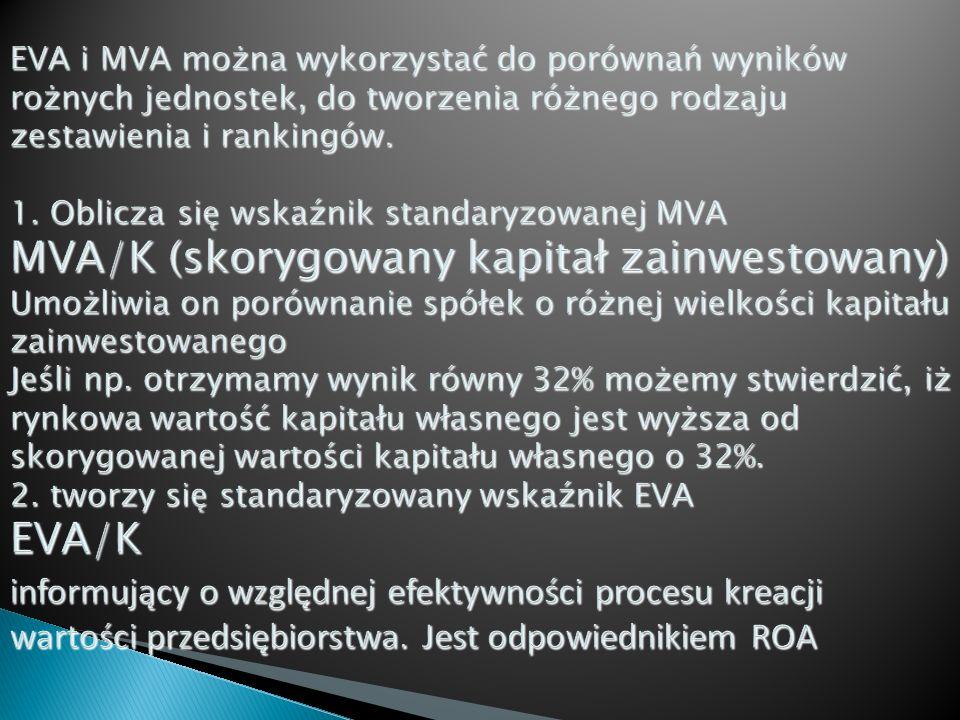 EVA i MVA można wykorzystać do porównań wyników rożnych jednostek, do tworzenia różnego rodzaju zestawienia i rankingów.