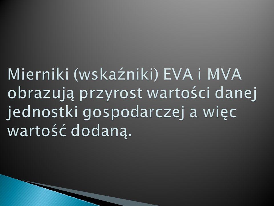 Mierniki (wskaźniki) EVA i MVA obrazują przyrost wartości danej jednostki gospodarczej a więc wartość dodaną.