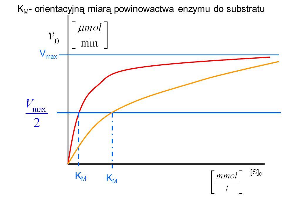 KM- orientacyjną miarą powinowactwa enzymu do substratu