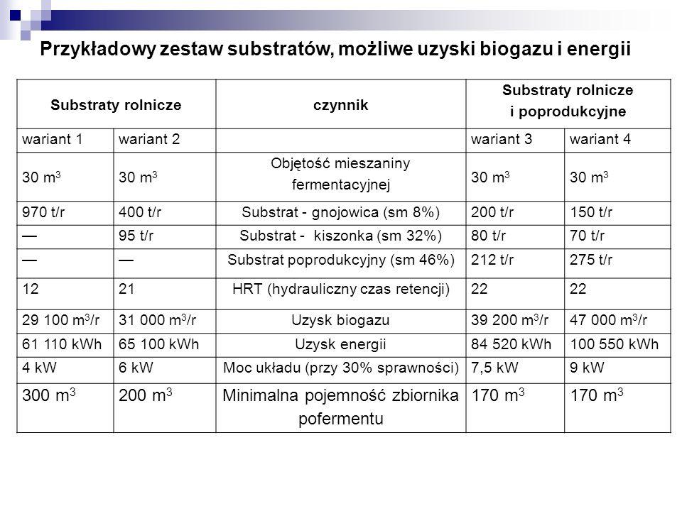 Przykładowy zestaw substratów, możliwe uzyski biogazu i energii
