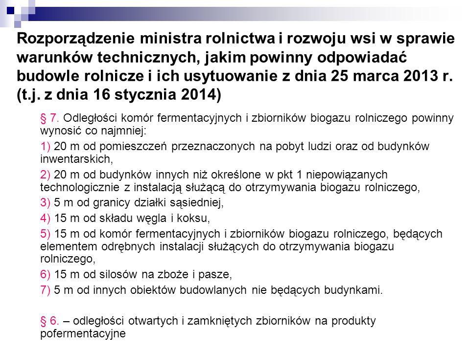 Rozporządzenie ministra rolnictwa i rozwoju wsi w sprawie warunków technicznych, jakim powinny odpowiadać budowle rolnicze i ich usytuowanie z dnia 25 marca 2013 r. (t.j. z dnia 16 stycznia 2014)