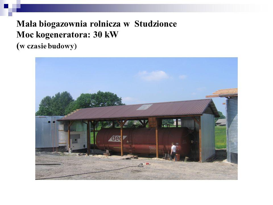 Mała biogazownia rolnicza w Studzionce Moc kogeneratora: 30 kW (w czasie budowy)