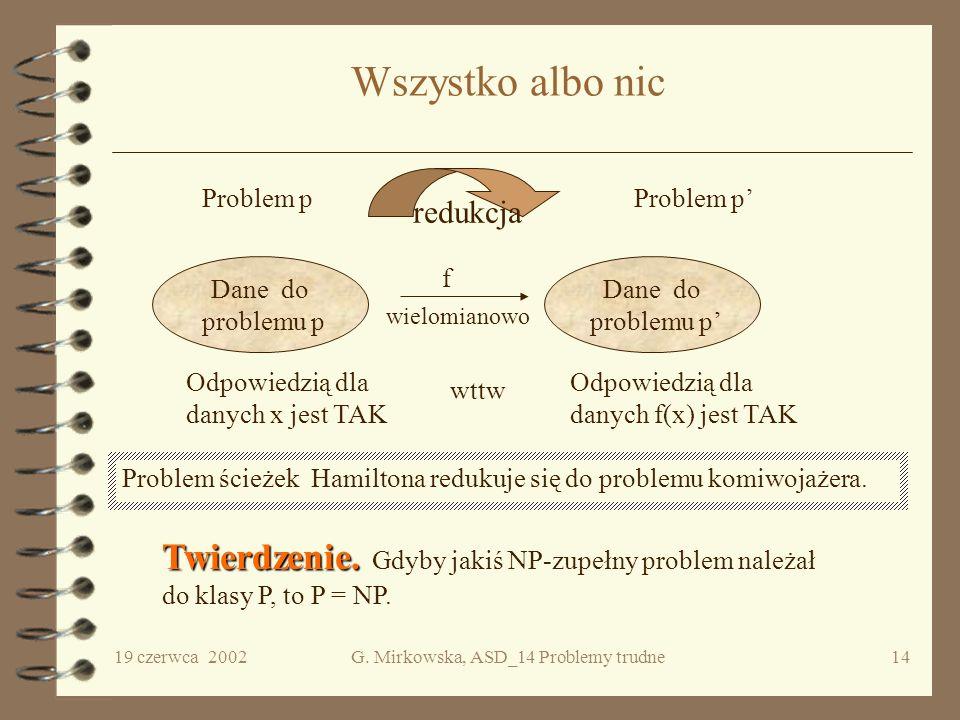 G. Mirkowska, ASD_14 Problemy trudne